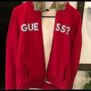 Guess faux fur hoodie sweater